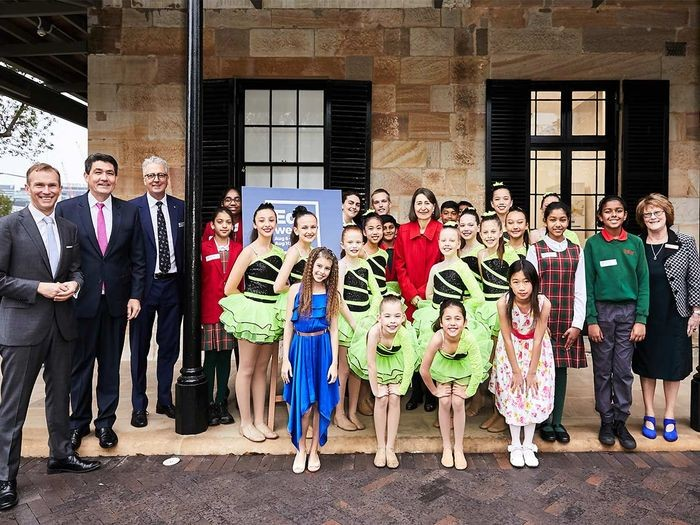 The Premier, Gladys Berejiklian, with (from left): Education Minister Rob Stokes; State Member for Parramatta, Geoff Lee; Department of Education Secretary Mark Scott; student performers and comperes, and the Principal of Parramatta Public School, Gail Charlier (far right).